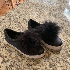J-Slides black leather slip ons. Size 6